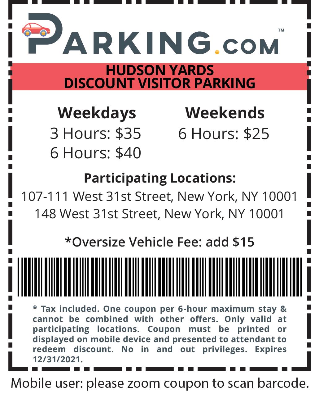 hudson yards visitor parking coupon