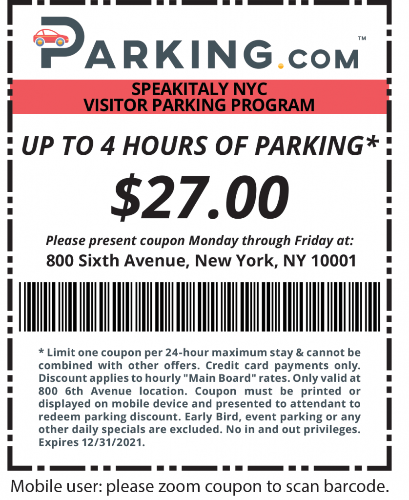 speakitaly nyc discount parking coupon
